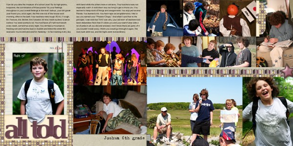 Photos collected over the span of a school year fill out this scrapbook page.