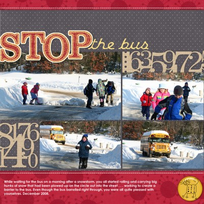 A layout recording a neighborhood routine on winter mornings last year. This year three of these kids have moved on to middle school and no longer catch the bus here.