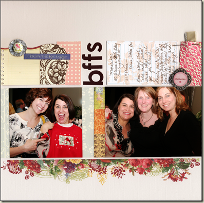 Hybrid scrapbook page with digital floral border