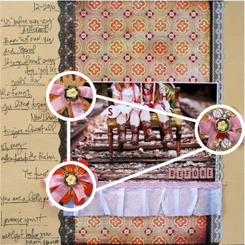 4 ways to make visual triangles on your scrapbook pages