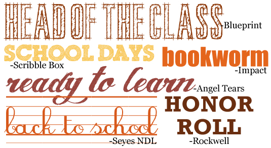 Scrapbooking Themes Quickstart: School Images, Sayings and Fonts