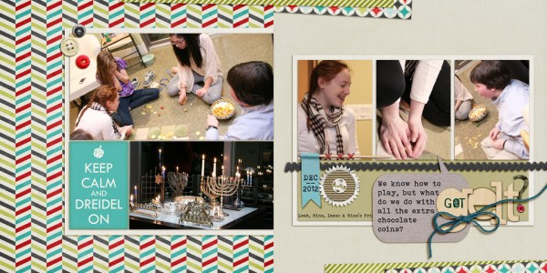 Hanukkah Scrapbook Page made from free layered template
