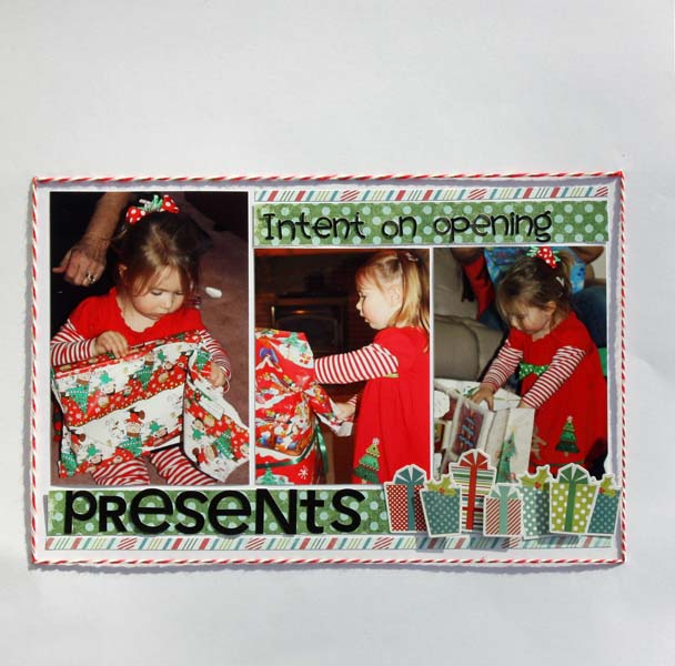 Intent on opening presents, by Brenda Becknell:    Patterned paper:  My Mind's Eye; Cardstock:  Michael's; Alphabet stickers:  Doodlebug; Christmas present stickers:  My Mind's Eye; Twine:  Doodlebug