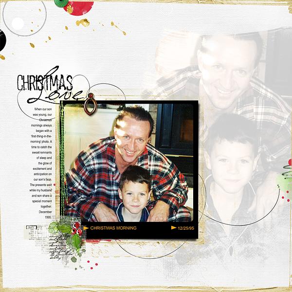 Christmas Love by Chris Asbury | Supplies: Anna Aspnes Designs: FotoSquared Template Album No.1 (pg5), ArtPlay Solids Retro Holiday, ArtPlay Palette Retro Holiday, ArtPlay Palette Santa Nicholas, Santa Nicholas WordART No.1, 12x12 Page FotoBlendz No.3, WarmGlows No.2, WarmGlows No.4, GoldPaint No.2, Artist Edges No.1, Different Strokes No.1, Christmas WordTransfers No.1, Christmas LoopDaLoops No.1
