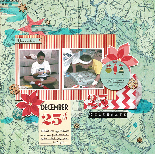 "December 25th by Leah Farquharson | Supplies: Background patterned paper: Crate Paper. Striped paper, chipboard, flair, stickers, journaling spots: October Afternoon. ""celebrate"" sticker: Pebbles, Inc. Wooden snowflakes: Studio Calico. Watercolor: Art supply."