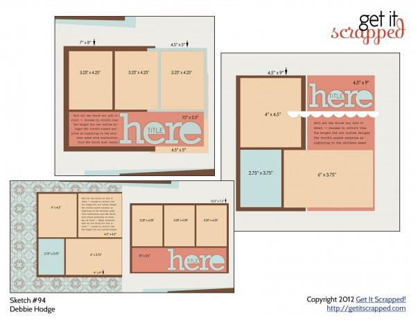 Free layered scrapbook page template and sketch