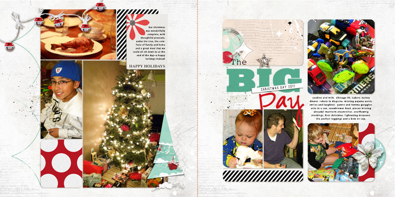 The Big Day by Amy Kingsford Supplies: December Daily Tale No. 21 by Kitty Designs, ArtPlay Palette Retro Holiday by Anna Aspnes, Art Play Palette Santa's Elf, Star On Top Journalers by Amy Martin and One Little Bird Designs and Multimedia Trees by Anna Asnes.Fonts: Ostrich Sans Rounded, Vaguely Repulsive and Myriad Pro.