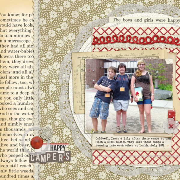 Happy Campers by Debbie Hodge | Supplies: Vellum Ellies, Vellum Doilies by Snips and Snails; Ephemera Stacks, Autumn Moon, Typeset ALpha by Sahlin Studio; Vintage Black and Cream, Mercantile Mix 4 by Jenni Bowlin Studio; Stitched by Anna White, Stitched by Anna Circles by Anna Aspnes; Mad About Paper, Worn Edges 2, Worn Edges 8.5 x 11 by Lynn Grieveson; Oiselet Rouge Elements, Collagables No 1 by Katie Pertiet; Smart Aleck by Heather Roselli; You are Here by Allison Pennington; Folded Ribbon Bits 3 by Pattie Knox; Bebas Neue, Bohemian Typewriter fonts.