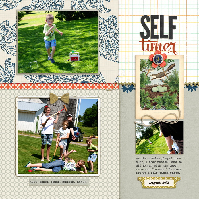 Ideas for Borders, Seams and Edging on  Your Scrapbook Page | Self-timer by Debbie Hodge | Supplies: Teak by Sara Gleason; Make it Mean by Vinnie Pearce; Snippets Alpha by Gennifer Bursett; A New Day by Mye de Leon; Embroider Me by Pink Reptile Design; Artistry de Blanco by Katie Pertiet