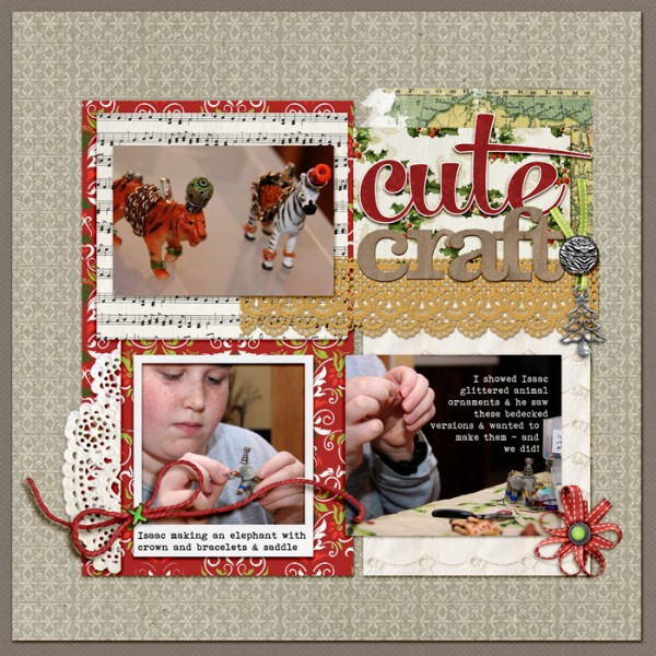 Cute Craft by Debbie Hodge | Supplies: Vintage Christmas, My Peony Classic Cardstock, Animal Park, Woodside Jangle by Katie Pertiet; Night Before Christmas by Anna Aspnes; Brad Bonanza by Pattie Knox; Mercury Script, Bohemian Typewriter fonts.