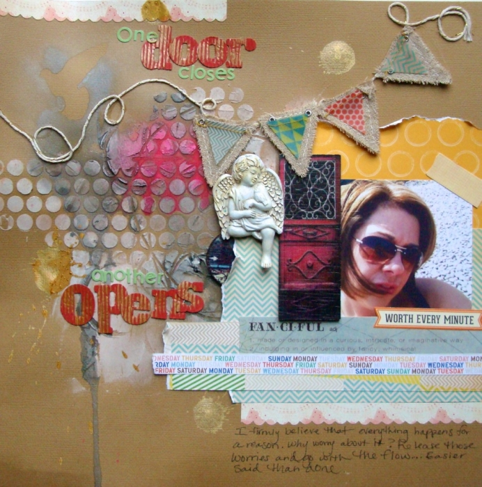 "One Door Closes... by Jennifer Matott | Supplies: All papers and embellishments from Scrapbooking From The Inside Out ""Release"" kit. Faber-Castell Design Memory Craft Gelatos® in Black Licorice, Silver, and Bubble Gum Faber-Castell Design Memory Craft Gelatos® mist making kit Light Modeling Paste: Golden Paints Adhesive: Helmar 450 Quick Dry Gesso: Faber-Castell Design Memory Craft Textural Accents Faber-Castell Design Memory Craft PITT Artist Pen in black"