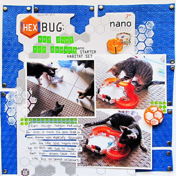 Hexbug: Not Just for Humans by Christy Strickler Supplies| Cardstock: Colorbok;Alphas: My Little Shoebox; Embossing Folder: Lifestyle Crafts; Modeling Paste: Liquitex; Snaps: Making Memories; Other: washi tape, painter's tape, toy packaging,Glossy Accents,bicycle reflector
