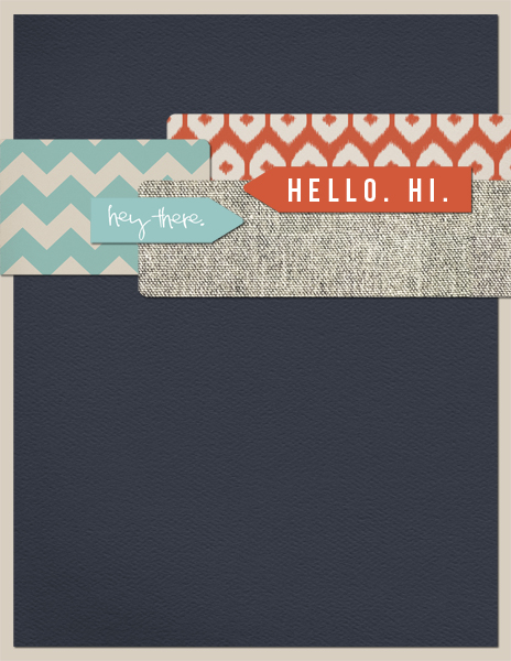 Hello Card by Tara McKernin | supplies: template from ChrissyW Speed Greeting Card set, papers and elements from Hello My Name is by Paislee Press.