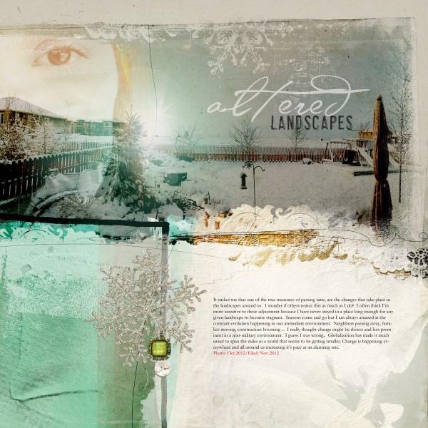 Altered Landscapes by Anna Aspnes | Supplies:  ArtPlay Palette Mint Blizzard, CoolGlows No. 1. Fonts:  AL Verdigris, AL Highlight, Garamond