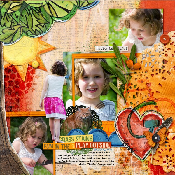 Hello Beautiful by Amber Ries   Supplies: Michelle Godin: Sunshine & Grass stains papers   Sunshine & Grass Stains   Sloppy Stencils 2; Jenn Barrette: Naturally Organic Elements ; Anna Aspnes: Journal Transfers 2