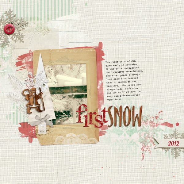 First Snow by Amy Kingsford | Supplies: Anna Aspnes: Art Play Palette Shabby Christmas, Art Play Palette Retro Holiday, Art Play Palette Mint Blizzard, Glitter Alpha Red, Christmas Woodshop No. 1, Multi-Media Trees No. 2; Katie Pertiet: Wooden Alpha No. 6; MSD: Top Ten Template Inspired by Anna Aspnes.