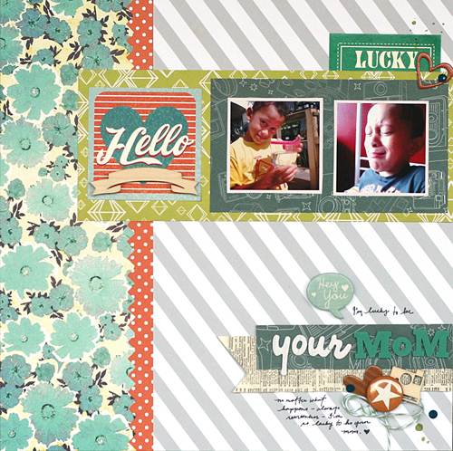 Luck to be Your Mom by Leah Farquharson | Supplies: patterned papers, journal spots, flair, chipboard, page gems, wood veneers: Studio Calico. Folded ruffle embellishment: Basic Grey. Letters: American Crafts