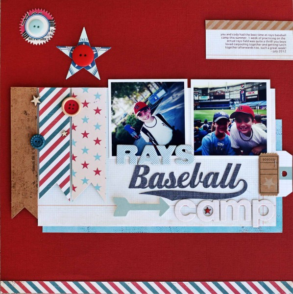 Rays Baseball Camp | Supplies: cardstock - Bazzill, patterned paper - Crate Paper, Pink Paislee; die cuts - October Afternoon, My Mind's Eye, Pink Paislee, chipboard - Studio Calico, die cut machine, cut file - Silhouette buttons - Dear Lizzy, October Afternoon, wood veneer - Studio Calico