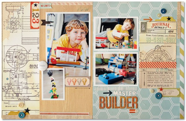 Master Builder  by Kim Watson | Supplies:   Patterned paper: Heidi Swapp, Studio Calico, Simple Stories, Cosmo Cricket; Die  Cuts & Woograin Alphas: Studio Calico, Buttons: October Afternoon, My Minds Eye; Arrows &  Stamp: Smash; Ink: Close to my Heart; Stickers: Cosmo Cricket; Other: Sewing machine.