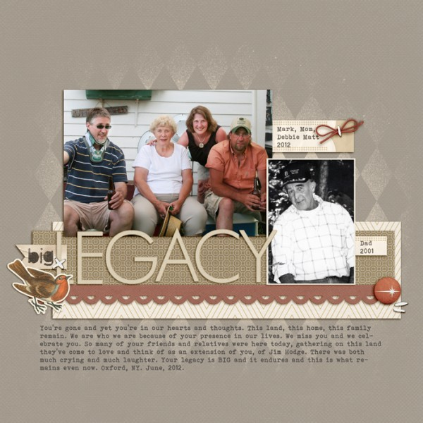 Big Legacy by Debbie Hodge | Supplies: Retro Mod, Treasured Moments by Sahlin Studios; Narrative, Generations, Storyteller by One Little Bird; A Very Small Alpha by Allison Pennington; Pear Perfection Classic Cardstock, Awarded Alpha, Cold Springs Element Pack; Bird Diecut, Flossy Stitches White by Katie Pertiet; Harlequin Knockout by Splendid Fiins; Bohemian font