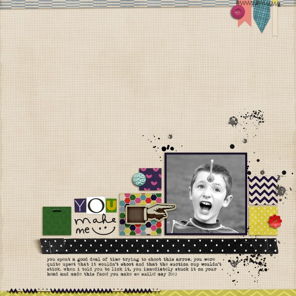 You Make Me Smile by Celeste Smith | Supplies: Little Things paper & elements by Valorie Wibbens, Have Fun elements by The Hidden Heart, Findings by Traci Martin, Flanners by and Random Stitches by Chere Kaye, Soho collaboration kit by One Story Down Designers, Soho Bits & Bobs by the Ardent Sparrow. All from One Story Down.