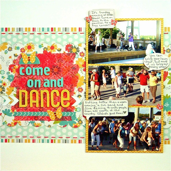 Come on and Dance by Sue Althouse | Supplies: Cardstock: Bazzill; Patterned Paper, Stickers: Pebbles; Border Punch: EK Success; Alphabets: American Crafts; Ink: Jenni Bowlin; Floss: We Are Memory Keepers; Washi Tape: My Mind's Eye; Jewels: TPC Studio; White Arrows: Silhouette ; Butterfly Punches: Martha Stewart, Tonic Studios