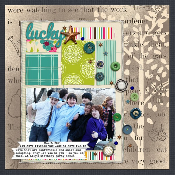Lucky by Debbie Hodge | Supplies: Papers: Cafe Garden by American Crafts, Haven by Jenni Bowlin, You Make Me Happy by Mye De Leon; Buttons and brads: Smart Aleck by Zoe Pern, Sprinkles 9 by Valerie Wibbens, Teak by Sara Gleason, Kitschy Christmas by Sahlin Studio, Big Ideas by One Little Bird, Brad Bonanza by Pattie Knox, I Am A Prince by Little Butterfly Wings, Artplay English Rose by Anna Aspnes; Word Label Template, Stitched by Anna Borders by Anna Aspnes; Drawn Branches, Classic Cardstock Festive Brights by Katie Pertiet; Mist brushes by Splendid Fiins; Bohemian Typewriter, Pacifico fonts