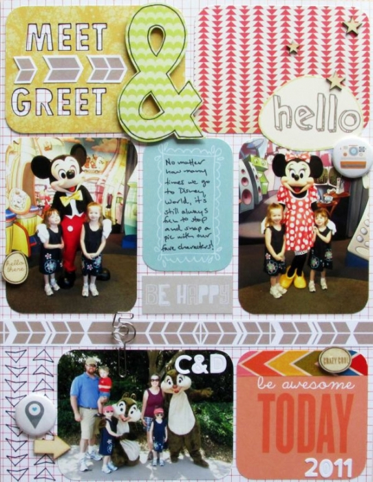 Meet & Greet by Ashley Horton | Supplies: Patterned Paper, Wood Veneer, Paper Clip & Mask: Studio Calico; Washi Tape; Glitz Design; Flair Buttons: The Paper Bakery; Letter Stickers: Jillbean Soup; Font: Abadi MT Condensed Extra Bold