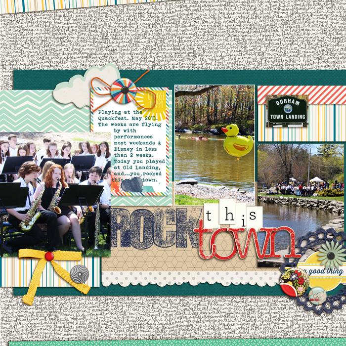 7 Ideas for Adding Attitude to your Scrapbook Pages with Trendy Flair | Rock the Town by Debbie Hodge | Supplies: Jade by Lili Niclass for Becky Higgins; More or Less by Rebecca Wagler, Celeste Knight, Gennifer Bursett, Pixels & Co; Flair Family Edition by Little Butterfly Wings; Fling by Creashens; Classic Cardstock Snow, Chipboard Alpha Red by Katie Pertiet; Woodland Wonder by Jenn Barrette, Textured Stamped Alpha by Just Jaimee; Brad Bonanza by Pattie Knox; Border Punches by Splendid Fiins; Bohemian Typewriter font