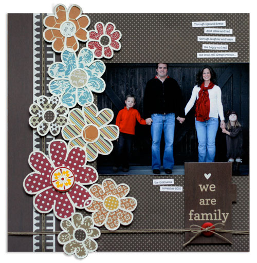 Polish Your Scrapbook Page Patterned Paper Mixes with Borders | We Are Family by Lisa Dickinson | Supplies: cardstock (Bazzill Basics); patterned paper, tag,stickers (Lily Bee Design); die cut machine (Silhouette); font (American Typewriter); jute twine; button