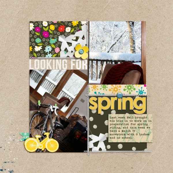 Looking For Spring by Debbie Hodge | Supplies: Patterned Paper: Soho Garden by American Crafts, Sketchbook by Amy Tangerine; Cardstock: Sequoia by Sara Gleason; Journaler: 5th and Folic by Dear Lizzy; Handcut Snowflakes by Valerie Wibbens; Stitching, Banner template by Anna Aspnes; Bike: Amy Tangerine; Flower, Alpha: Spring Day and Sunshine Alpha by Sahlin Studio; Bebas Neue, Bohemian Typewriter fonts.