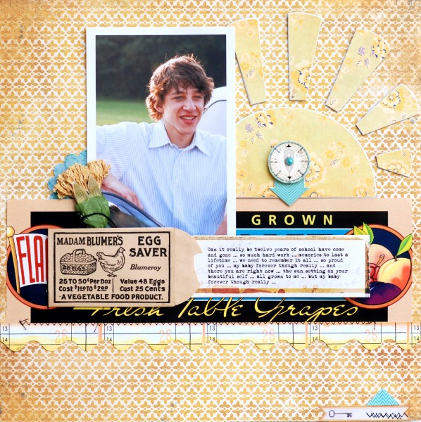 Grown by Betsy Sammarco | Patterned Paper by My Mind's Eye and Sassafrass Lass, Embellishments by My Mind's Eye and Sassafrass Lass, Vintage fruit label and Egg Saver envelope, font Mom's Typewriter
