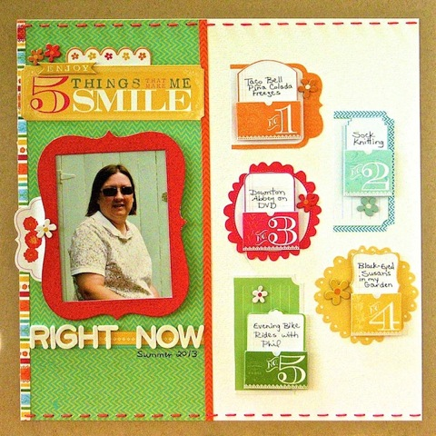 5 Things That Make Me Smile Right Now by Sue Althouse | Supplies: Cardstock: Bazzill; Patterned Paper, Tags, Journaling Cards, Chipboard: Little Yellow Bicycle; Alphabets: American Crafts; Floss: We R Memory Keepers