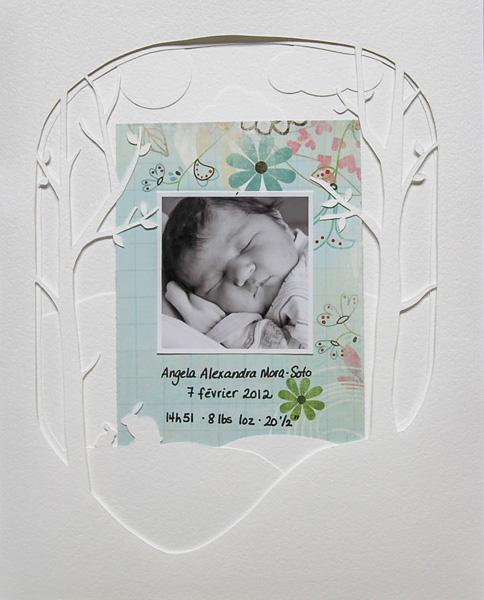 Birth Alexandra by Marie-Pierre Capistran | Supplies: Cardstock: Bazzill; Patterened Paper: Bo Bunny.
