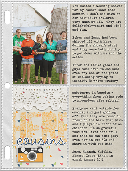 Cousins Here Pocket Page: Pockets by Valerie Wibbins, Papers and embellishments by One Little Bird ( ); Alpha by Zoe Pearn (Little Miss Sunshine)