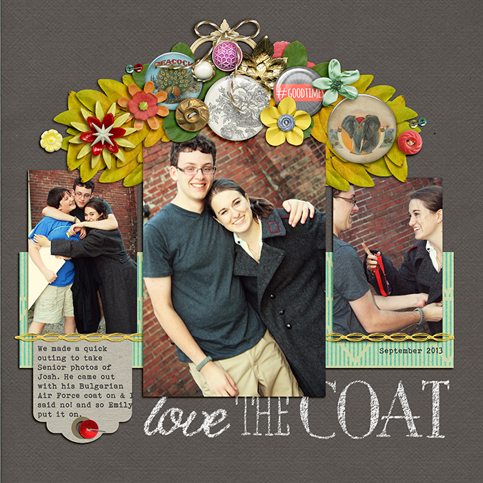 Love the Coat | Supplies: Aztek Summer by Sahlin Studio; Flair Boxes by Paula Kesselring; Chalkboard Alphas by Katie Pertiet; Dandelion Wishes by Mye de Leon; Remember, Happy Hipster by Amy Wolff; Read by Pixel Gypsy; Built for Two by Allison Pennington; Office Space by Gennifer Bursett; Anywhere Flair by Karla Dudley; Artplay Fall by Anna Aspnes; Stapled Sequins by Kim Jensen; Inspired by the art of Frida Kahlo
