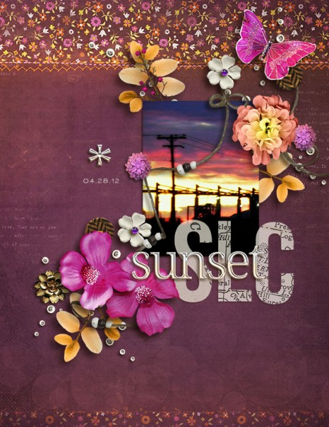 SLC Sunset by Amy Kingsford | Supplies: Vinnie Pearce: Lotus Sunset; Pixels and Company: Free Love and Homebody Collabs; Mye de Leon: The Good Stuff: This Week Alpha; Creashens: i love Alpha.