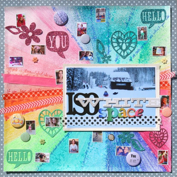"""ISO White Space is one of Katie Scott's scrapbook pages made for """"Rule Play,"""" a class at the Get It Scrapped membership."""