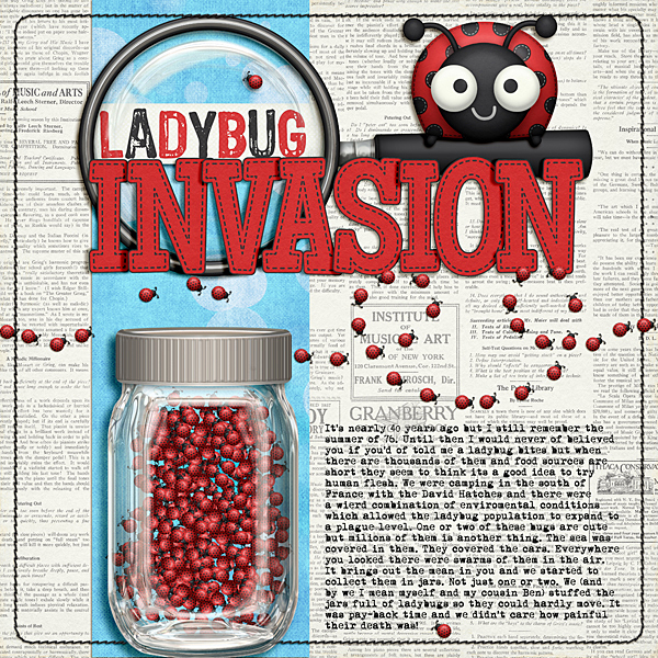 Ladybug Invasion by Ronnie Crowley | Supplies - Katie Aagard - Bugging Out; Katie Pertiet - Bit of Bokeh