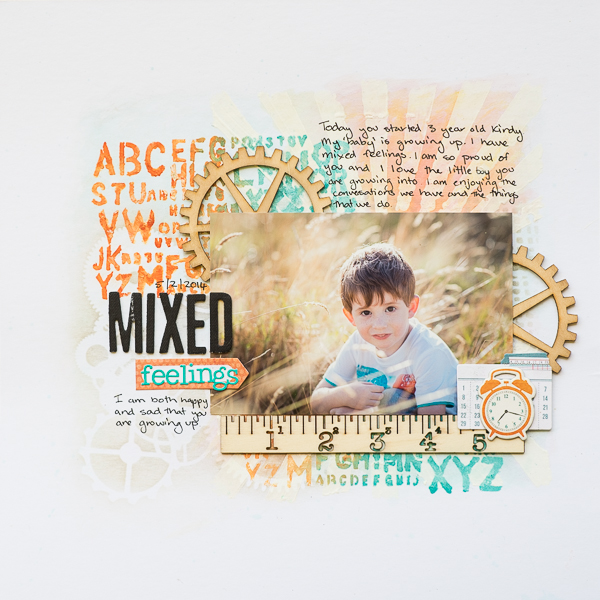 Scrapbooking Ideas for Layered Stencilwork | Kristy T | Get It Scrapped
