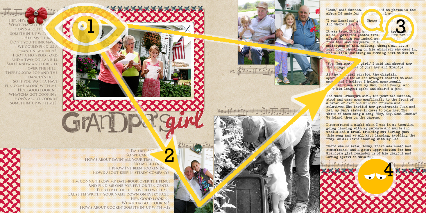 A scrapbook page should: 1) capture the viewer's attention, 2) control the eye's movement, 3) convey information, and 4) evoke emotion. | Get It Scrapped