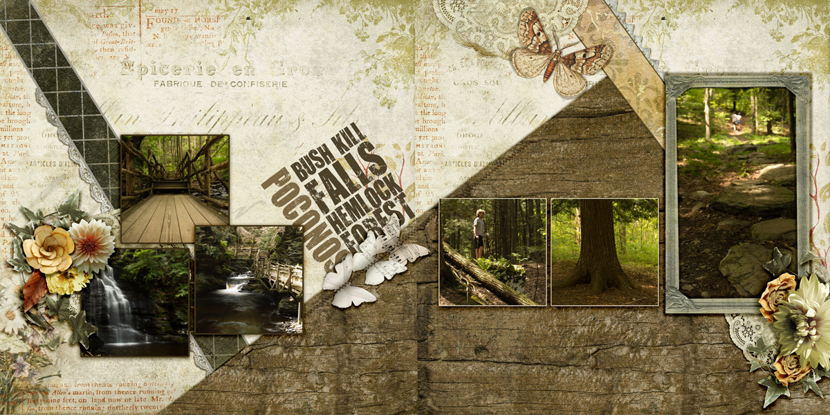 Scrapbook Design Ideas for Two-Page Layouts with the Cross and Bracket Foundations | Andrea | Get It Scrapped