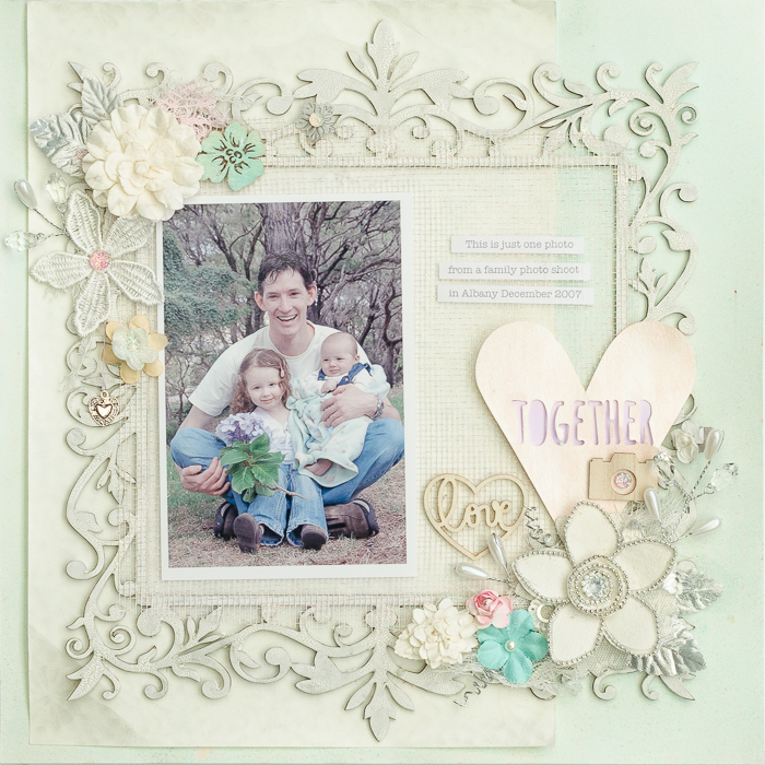 Ideas for a Scrapbooking Color Scheme of White Suffused Pastels and Metallic Accents | Kristy T | Get It Scrapped