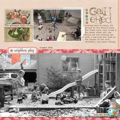 Ideas for Scrapbook Page Storytelling with Full-Width and Full-Height Photos |Gathered by Debbie Hodge | Supplies: Parade Day by Jenni Bowlin; Jane, Sam by Rebecca Wagler; Stitched by Ann Baby Blue by Anna Aspnes; Pilllowtalk by Creashens; Collageables 2, Little Layette by Katie Pertiet; Happies by Laurie Ann; A Simple Mixup Alpha by Lisa Sisneros; Sassy Pants by Amy Wolff; Bohemian Typewriter, Pastiche fonts.