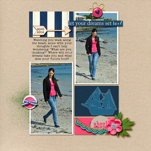 A Pink and Navy Scrapbook Page Color Scheme Recasts Primary Colors  Stefanie Semple   Get It Scrapped