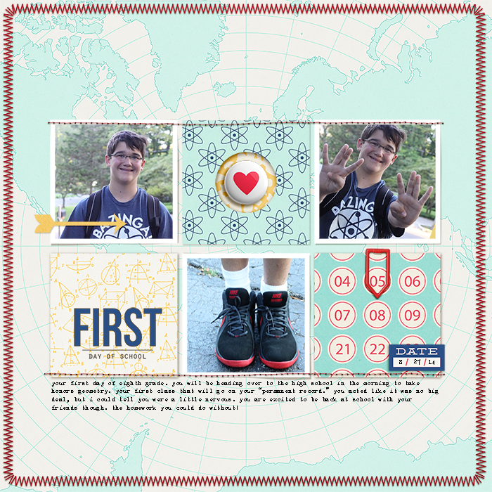 Scrapbook Page Sketch and Layered Template #96 | Layout by Celeste Smith | Get It Scrapped