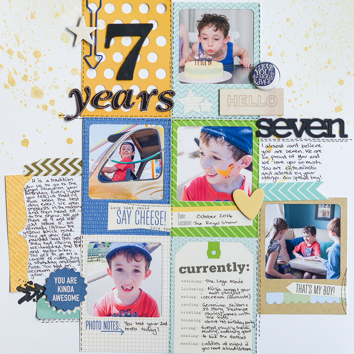 Scrapbook Page Sketch and Layered Template #96 | Layout by Kristy T | Get It Scrapped