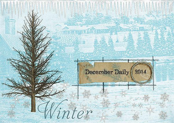December Daily Cover by Audrey Tan| Supplies: Vicki Robinson: Winter Blues; Font: Subway Novella