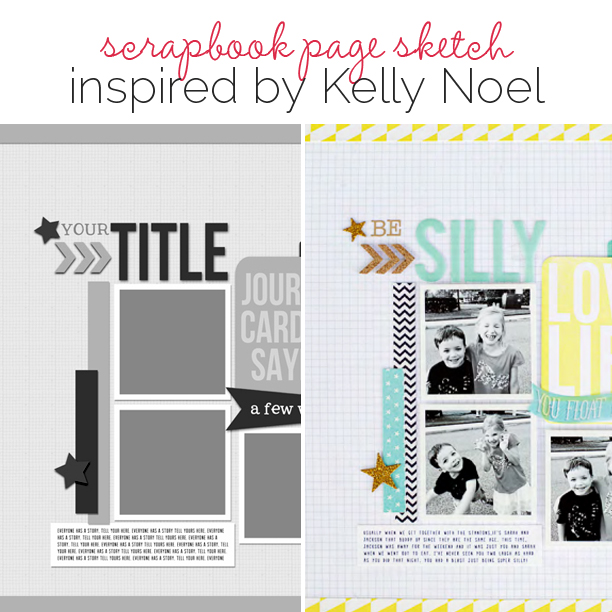 Scrapbook Page Sketch and Layered Template #97 | Get It Scrapped