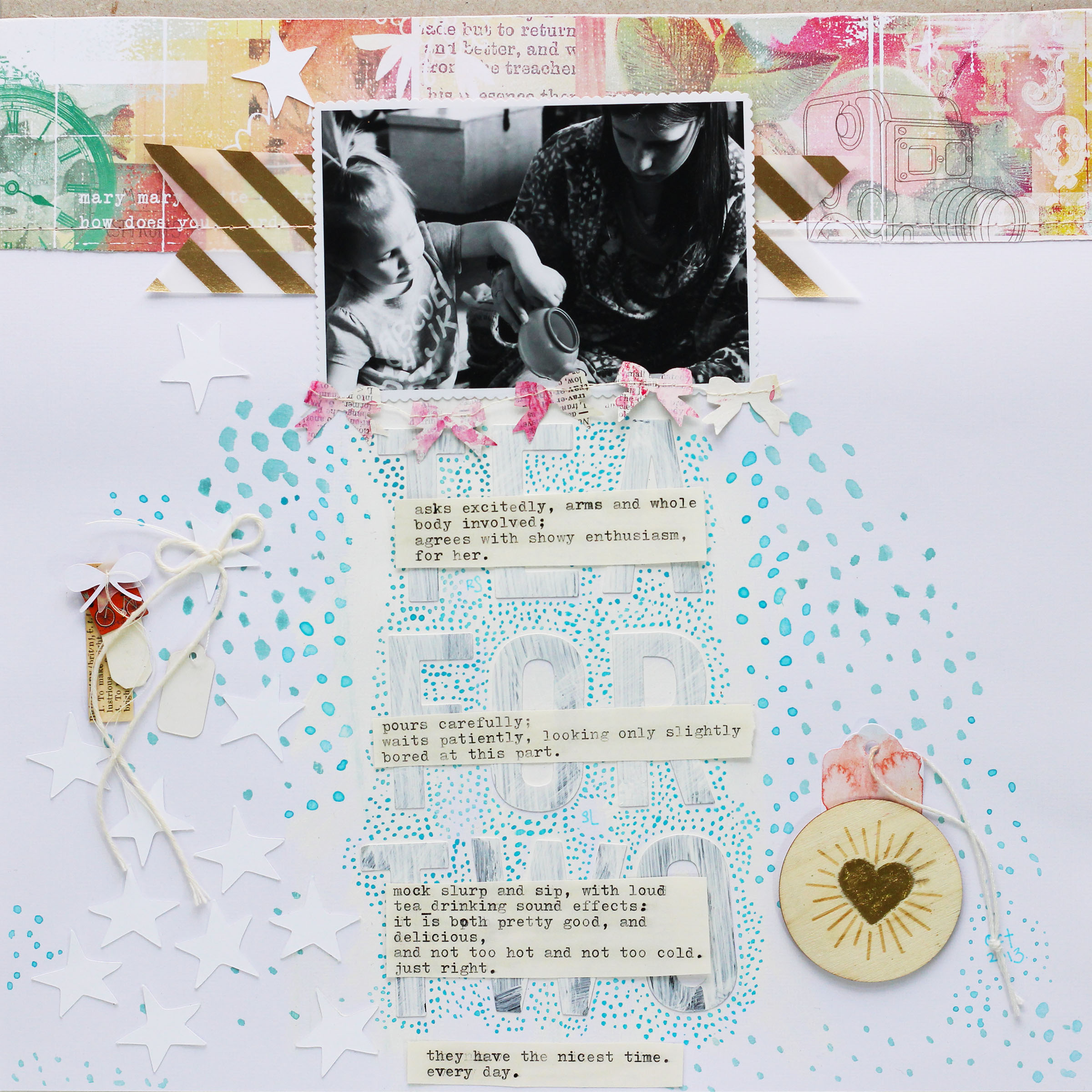 Tea for Two by Ashley Calder   Supplies: patterned paper by Studio Calico; vellum by My Mind's Eye; tags by Basic Grey, Things That Shine, and other; letter stickers by Pebbles; bow garland by Things That Shine; wood veneer by American Crafts; watercolor by Winsor & Newton; cut files by Cocoa Daisy.